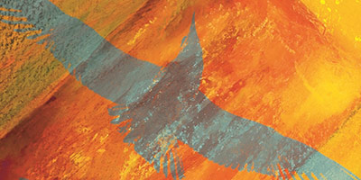 An artistic graphic of a crow overlayed on an orange texture