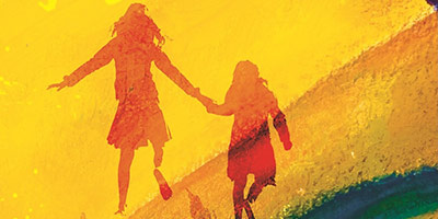 The silhouette of two girls running overlayed on a yellow texture