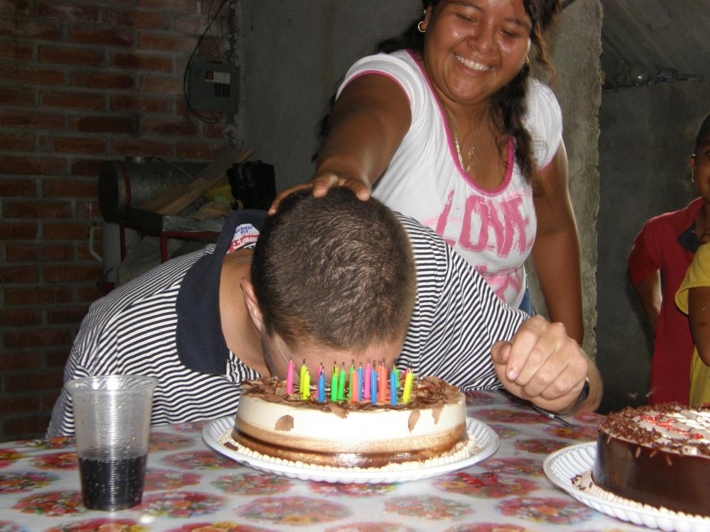 Paco Getting The Tradition Cake In His Face During His Birthday